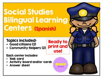 Social Studies Bilingual Learning Centers/Centros Bilingües de Sociales (Bundle)