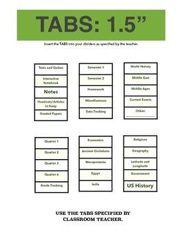 Social Studies: Binder / Notebook Organization Packet & System