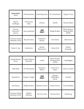 Social Studies Bingo Cards