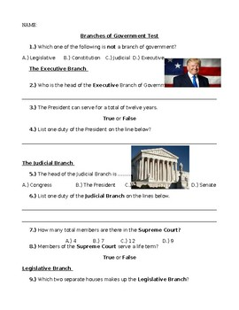 Social Studies Branches of Government Assessment Special Education Students