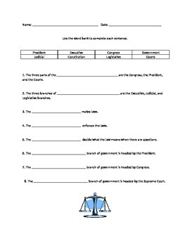 Social Studies - Branches of Government Quiz, Test, Homewo