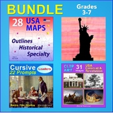 SOCIAL STUDIES BUNDLE - 13 Colonies, Leaders, Maps, Statue of Liberty (K-7)