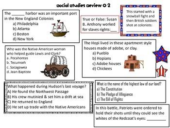 Social Studies Milestone Review Printables