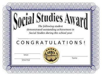 Social Studies Certificate