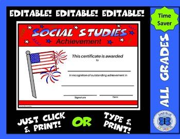 Social Studies Certificate - Editable