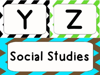 Social Studies Chevron Vocabulary Words