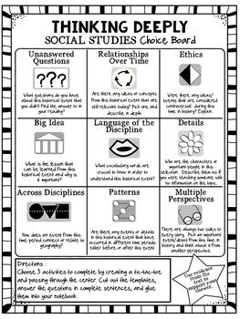 Social Studies Choice Board