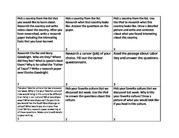 Social Studies Choice Board Tiered Station Activity FREE preview