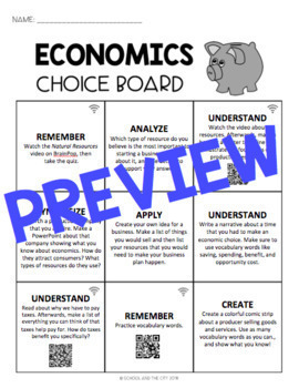 Social Studies Choice Boards