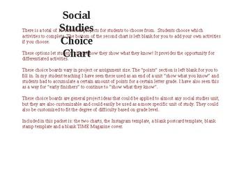 Social Studies Choice Chart