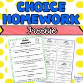 Back to School Student Choice Homework Worksheet