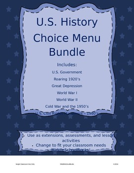 U.S. History Choice Menu Assessment Bundle (Common Core)
