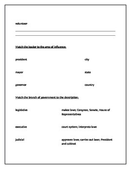 Social Studies Citizens and Government Unit Study Guide (CSCOPE Unit 9 Aligned)