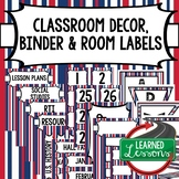 SECONDARY CLASSROOM DECOR, BINDER LABELS, Patriotic Stripes