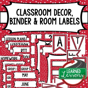 SECONDARY CLASSROOM DECOR, BINDER LABELS, Patriotic Red Stars