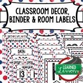 SECONDARY CLASSROOM DECOR, BINDER LABELS, Patriotic Dots,