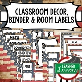 SECONDARY CLASSROOM DECOR, BINDER LABELS, Patriotic American Flag