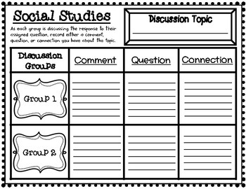 Social Studies Class Discussion Student Accountability Graphic Organizer