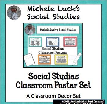 Social Studies Classroom Posters for Bulletin Board Word Wall Set w/B&W version