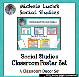 Social Studies Classroom Posters for Bulletin Board Word Wall Set w/B&W version
