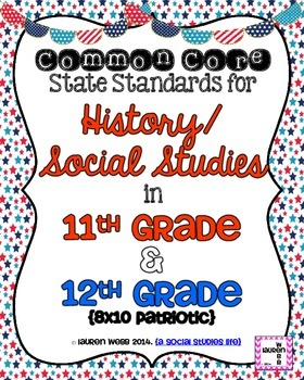 11th and 12th grade Social Studies Common Core Standards Posters