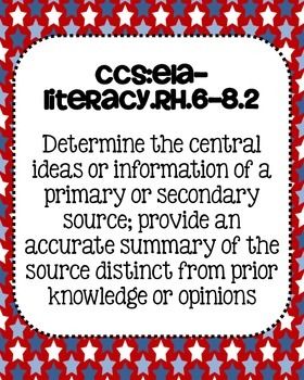 6th, 7th, 8th grade Social Studies Common Core Standards Posters