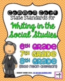 6th, 7th, and 8th grade Writing in Social Studies Common Core Standards Posters