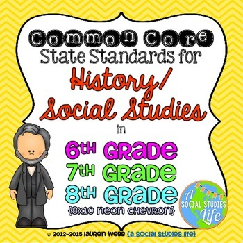 6th, 7th, and 8th grade Social Studies Common Core Standards Posters
