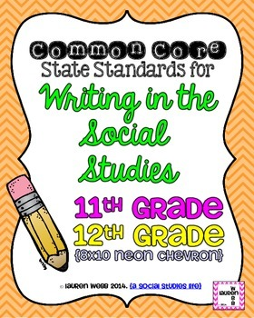 11th and 12th grade Writing in Social Studies Common Core Standards Posters