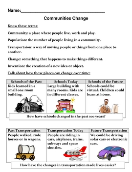 Social Studies: Communities Change : Assessment and Study Guide