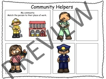 "Social Studies - Community Helpers Interactive Activity ""Match Book"""