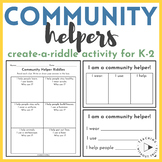|Social Studies| Community Helpers Riddle Activity for Community or Jobs Unit