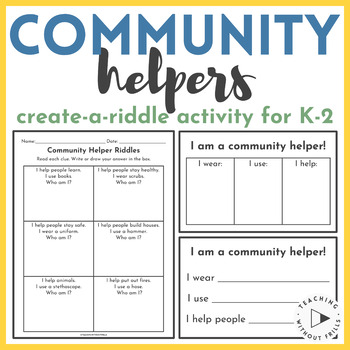 Community Helpers Create A Riddle Activity Kindergarten 1st 2nd Grade
