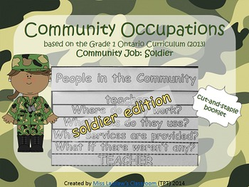 Social Studies: Community Occupations Booklet - Soldier {Ontario Curriculum}