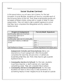 Social Studies Community Service Contract and BINGO