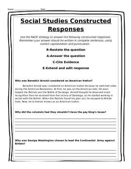 Social Studies Constructed Responses