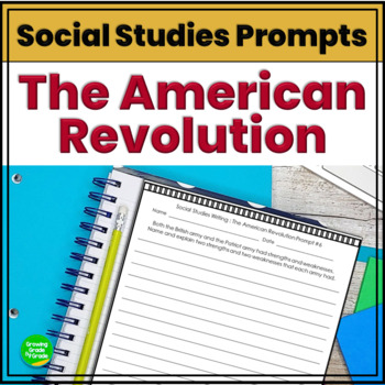 American Revolution Journal Prompts Constructed Responses