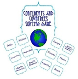 Social Studies: Continents and Countries Sorting Activity