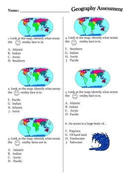 Social Studies : Continents and Oceans Assessment and Study Guide