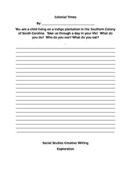 Social Studies Creative Writing Prompts Worksheet