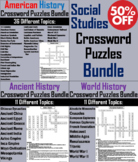 Social Studies Crossword Puzzles Bundle: Ancient, World and American History