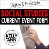 Current Events Worksheet - Social Studies