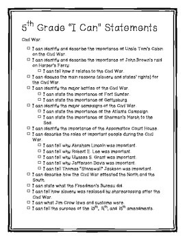 Social Studies Data Notebook and I Can Statements