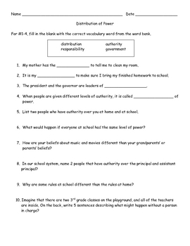 Social Studies: Distribution of Power/Authority Worksheet