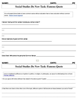 Social Studies Do Now Activites