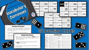 Social Studies Dominoes - 8th Grade Government Milestones Review
