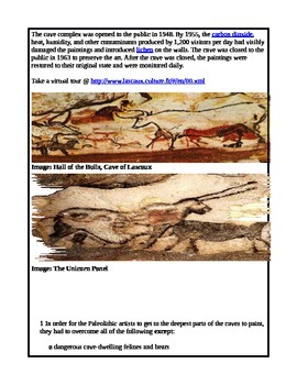 Social Studies/ELA Cave of Lascaux Paintings Reading Comprehension Paleolithic