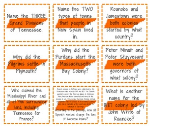 Social Studies Early America Review Flash Cards - Tennessee