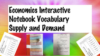 Social Studies Economics Supply and Demand Interactive Notebook Vocabulary INB