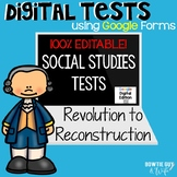 Social Studies Editable Tests for distance learning 4th grade